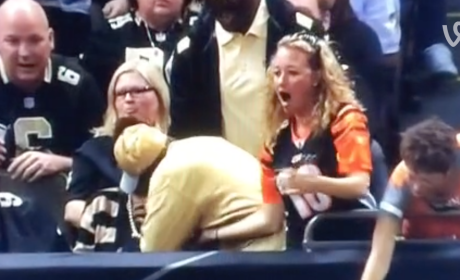Saints Fan Steals Ball from Bengals Fan