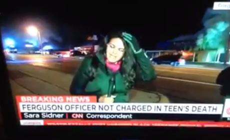 Journalist Reports from Ferguson, Gets Hit in Head by Rock