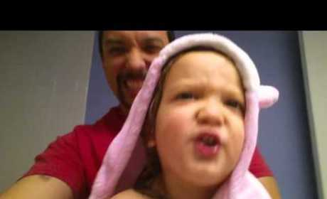 2-Year-Old Girl Wears Pink Bunny Robe, ROCKS Out to the Alphabet