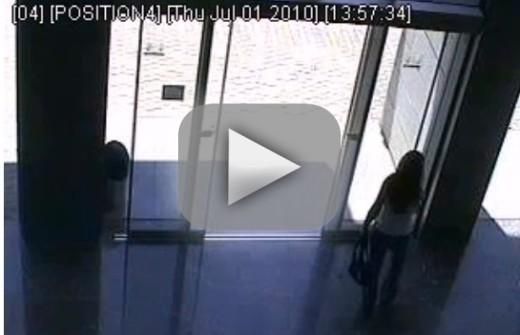 Girl Walks Into Door : Girl tries fails to negotiate sliding glass door the