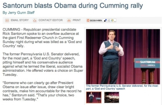 Santorum Headline