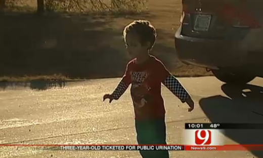 Toddler Ticketed For Public Urination