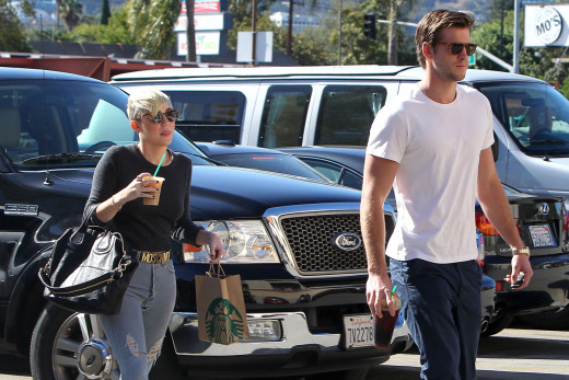 Miley Cyrus and Liam Hemsworth Take a Walk