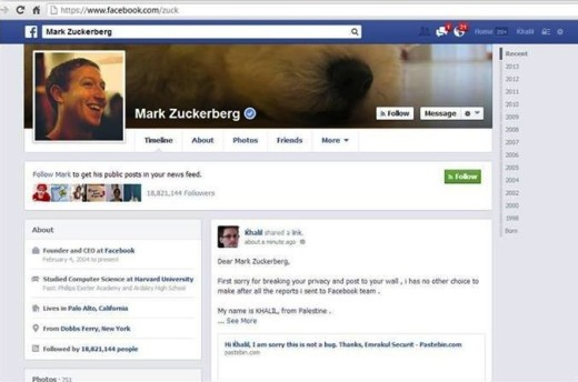 Mark Zuckerberg Facebook Page Hacked