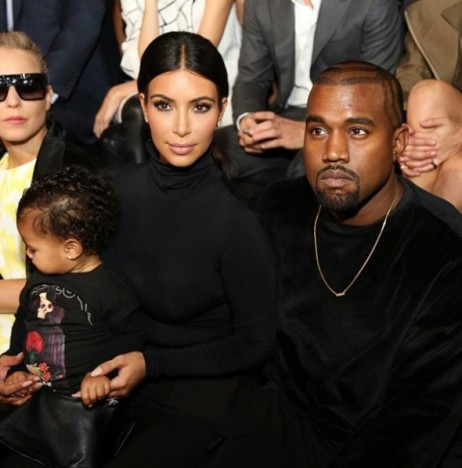 Kim, Kanye and North in Paris
