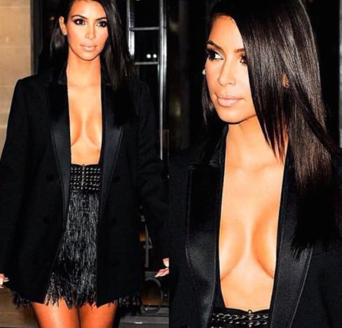 Kim Kardashian Flaunts Cleavage