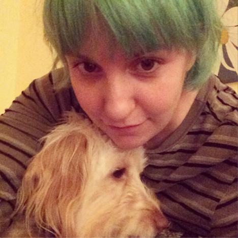 Lena Dunham with Green Hair