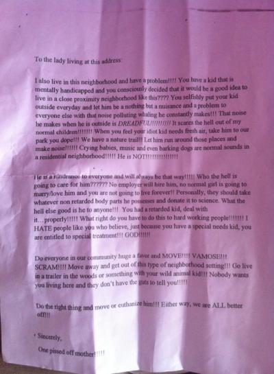 Open letter sent by a neighbor to parents of child with autism