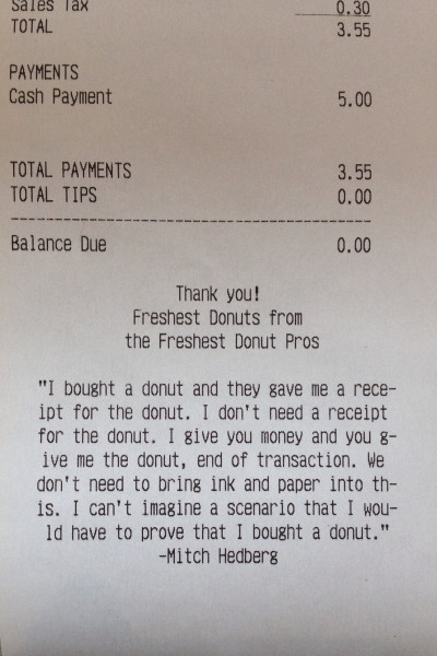 Mitch Hedberg Receipt